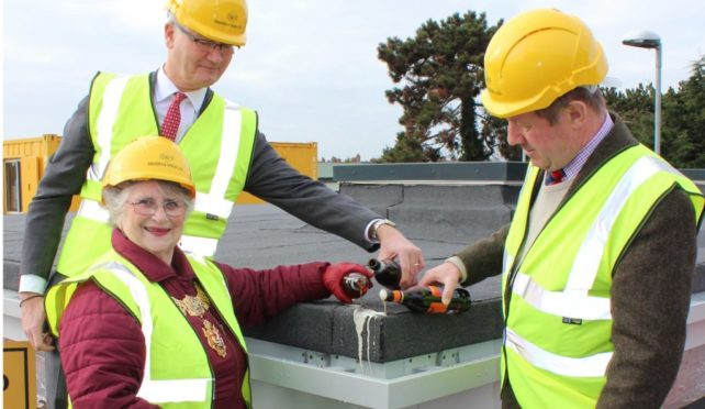 Topping out of new police/fire station in Felixstowe